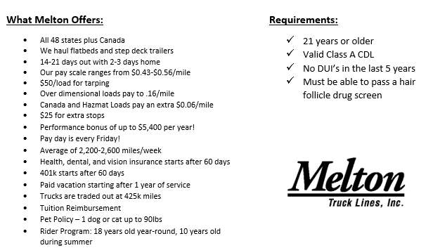 Flatbed Truck Drivers: Great Pay! Quality Home Time! - Camden, NJ - Melton Truck Lines