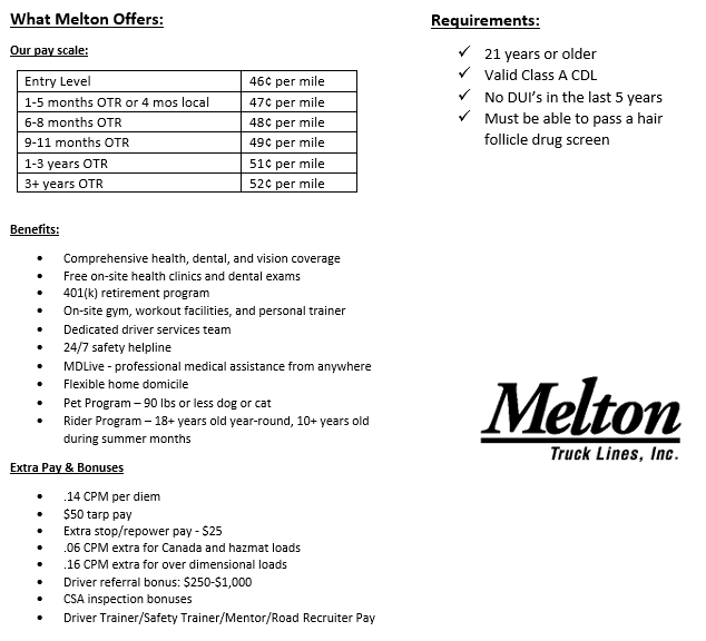 Flatbed Drivers: Great Pay! Quality Home Time! - Indianapolis, IN - Melton Truck Lines