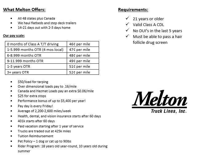 Flatbed Truck Drivers: Great Pay! Quality Home Time! - Indianapolis, IN - Melton Truck Lines