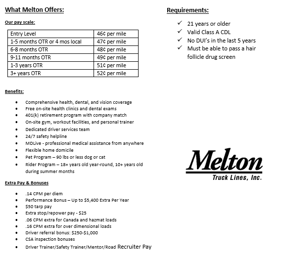 New & Experienced Drivers Wanted for Flatbed! - Camden, NJ - Melton Truck Lines