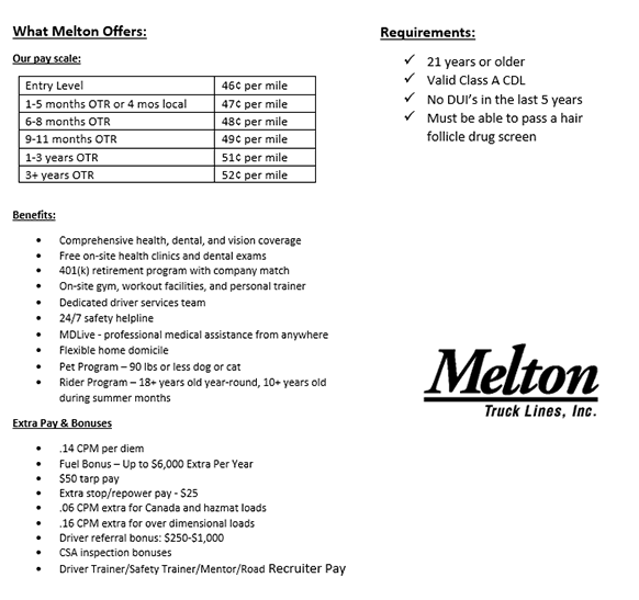NEW PAY PACKAGE - Company Drivers Apply and Earn More! - Rochester Hills, MI - Melton Truck Lines